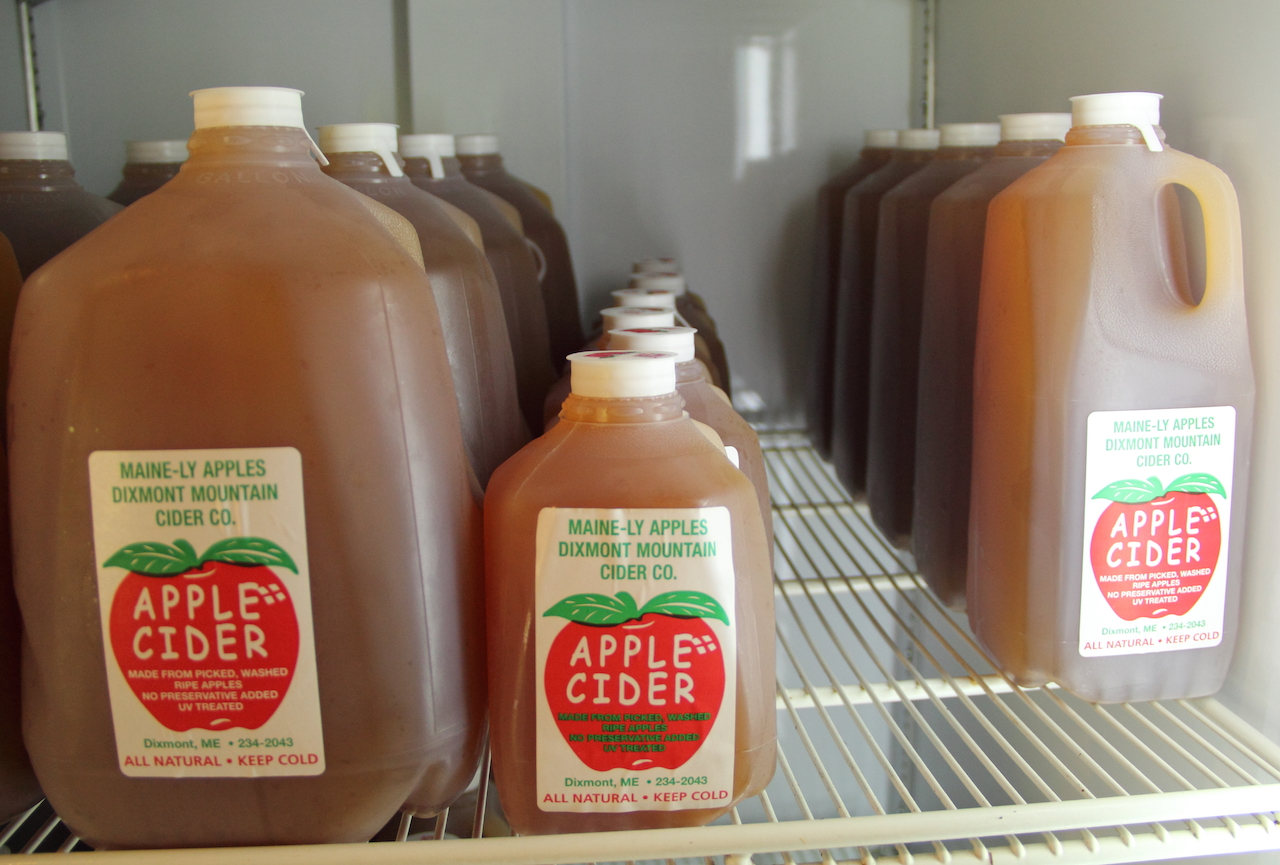 photo of apple cider containers in a cooler